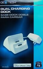 CE TECH 3.1 Amp Detachable Wall Dual Charging Dock - Iphone, Ipad, Ipod - White