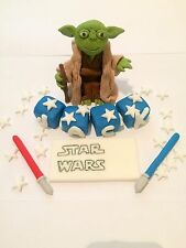 Edible In The Style Of Yoda Name Set Star Wars Cake Topper Icing Decoration