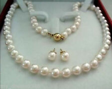 8-9MM White Freshwater Cultured Pearl Necklace Earring Set