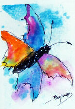 EXPRESSIONISM ACEO ORIGINAL WATERCOLOR PAINTING 2.5 X 3.5 IN. COLORFUL BUTTERFLY