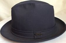 STETSON ANDES RAIN HAT NAVY BLUE LARGE 59CM STINGY BRIM FEDORA USA MADE