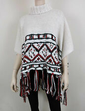 NWT MARC NEW YORK Knitted Tassel Poncho Turtleneck Loose Bat Nordic Ivory OS