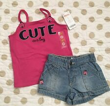 NWT Gymboree Toddler Girls Tank Top & EUC Jean Shorts Outfit Size 2T