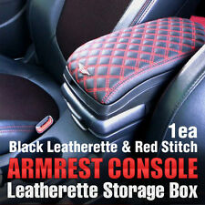 Arm Rest Center Console Storage Box Black Leatherette Rad Stitch 1P for BMW