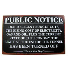 VINTAGE Energy Antique PUBLIC NOTICE Gas OIL TIN SIGN