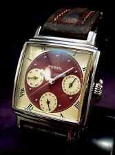 New Battery~1998 Fossil BQ-8755~Art Deco Styled Calendar 24hr~Quartz Mens Watch
