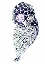 vintage retro style black and clear owl brooch pin, Xmas gift