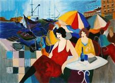 "Iztchak Tarkay ""Harbour Cafe Aristo"" Hand Signed LE Serigraph Women Waterside"