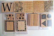 "Stampin Up! Rubber Large 6"" Sets Borders Backgrounds Stamps Lot of 27 New"