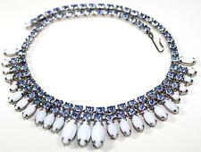 Vintage Designer White Milk Glass Sapphire Blue Rhinestone Necklace  D248