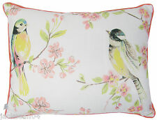 FILLED WHITE GREEN YELLOW PINK BIRD BIRDS THICK BOUDOIR PIPED CUSHION 30 X 40CM