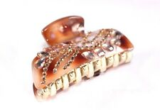 New Fashion Brown and White Marble Sparkling Hair Clip Claw w/Brown Rhinestones