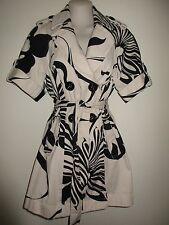 INC $129.00 Short Sleeve Black/Beige Floral Print Denim Belted Trench Jacket,  S