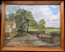Vintage Oil Painting by J MAYNARD of Constable's Famous Landscape 'The Hay Wain'