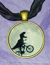 ♡ DINOSAUR RIDING BICYCLE NECKLACE ♡ FUNKY  KITSCH JEWELRY ♡ T REX CYCLIST ♡