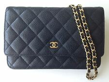 CHANEL BLACK CAVIAR LEATHER WALLET ON A CHAIN WOC GOLD CC CLUTCH BAG