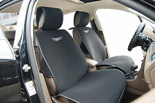 2 Car Seat Covers Cushion Velour w Leather Trim Compatible To Honda 6801 Black