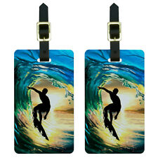 Surfer - Surf Ocean Wave Sunset Luggage Suitcase Carry-On ID Tags Set of 2