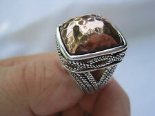 """Estate Sterling Silver and Hammered Copper Ring, Size 8.5, Signed """"BARSE 925"""""""