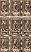 1964 - SHAKESPEARE - #1250 Full Mint -MNH- Sheet of 50 Postage Stamps