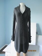 Badgley Mischka Knit Wool/Cashmere Bodycon Tunic Sweater Dress Bell-Sleeve L NWT