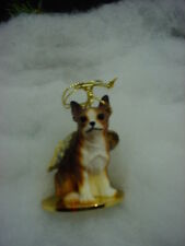 CHIHUAHUA Brindle Brown DOG ANGEL ORNAMENT Figurine Statue NEW Christmas puppy
