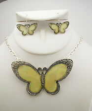 Joan Rivers Poured Resin Butterfly Necklace & Earring Set (w/ JR romance card)