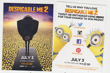 2013 SDCC COMIC CON DESPICABLE ME 2 MOVIE PROMO CARD WITH GRU AND MINIONS