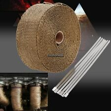 "Titanium Lava Exhaust Header Pipe Heat Wrap 1 Roll 2""x 50' Stainless ties kit"