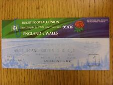 21/02/1998 Rugby Union Ticket: England v Wales [At Twickenham] (Complete)