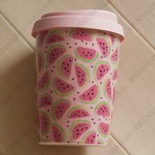 Cotton On Typo Cute Pink Watermelon Print Porcelain Travel Mug with Lid