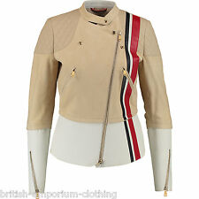 TOMMY HILFIGER Runway Collection Gamuza Cuero Moto Chaqueta De Motorista Bnwt EU34-US4