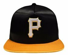 MLB New Era Pittsburgh Pirates Satin 9FIFTY Black Snapback Cap New Size M/L