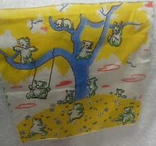 Child's Blue Wash Bears Playing  On a  Blue  Tree   Vintage  Handkerchief