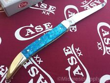 Case Xx Medium Texas Toothpick Knife SS Long Blade Blue Sparkle Kirinite Handle