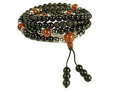 Buddhist Prayer Beads • Tibetan Mala Necklace • Chakra Jewelry • Onyx • Hemat...