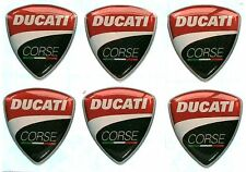 Ducati Corse 6 x Resin Domed Badge Sticker Logo Emblem 25mm x 23.5mm