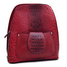 Dasein Women Ostrich Croco Leather Mini Backpack School Day Bag for Girl Red