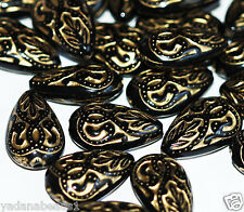 Bulk 300 of vintage Acrylic teardrop beads 18x11mm Black with gold accent