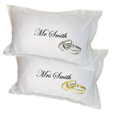 Pair of Wedding Pillowcases personalised with names and wedding ring design