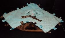 Taggies Blue Bunny Security Baby Blanket  with Brown Satin Lining Lovey