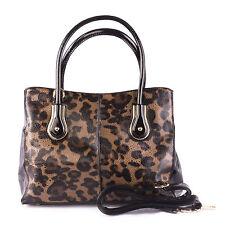 Ladies Designer Inspired Top Maniglia Nero e Marrone Chiaro Animal Print P.U Borsetta