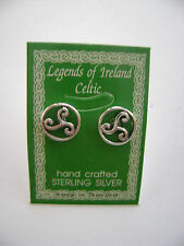 Sterling Silver Celtic Circle Design Irish Stud Earrings New