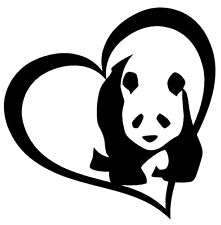 PANDA BEAR HEART Vinyl Decal Sticker Car Window Wall Bumper I Love Cute Animal