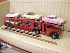 SMITH MILLER Car Carrier Transporter Toy Pressed Steel Truck + 6 Cars BEAUTIFUL