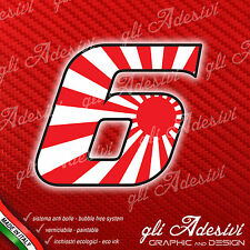 Adesivo Stickers NUMERO 6 moto auto cross gara JAPAN 5 cm