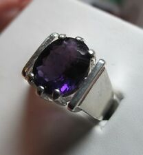 MENS 4CT  amethyst SET IN A STUNNING STERLING HANDSOME RING