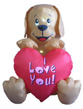 Valentine's Lighted Air Blown Inflatable Yard Decoration Puppy with Love Message
