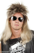 Para Hombre 80s Rod Steward Glam Rock Star Rocker Fancy Dress Costume Rubia Peluca Mullet