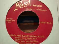 "++YUGOSLAV FOLK ENSEMBLE ""KOLO"" songs ans dances from croatia EP FEST VG++"
